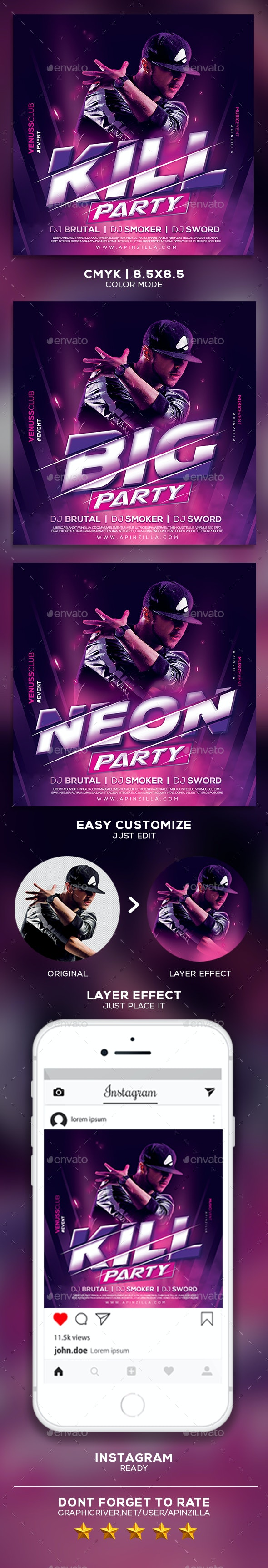 DJ Music Party Flyer - Clubs & Parties Events