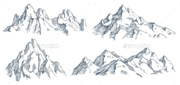 Mountains Peak Engraving - Landscapes Nature