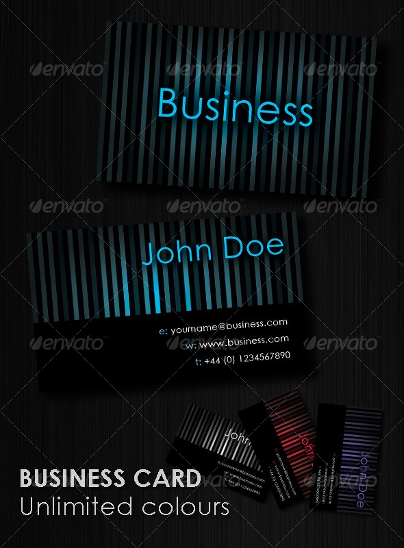 Striped Business Card : Unlimited Colors - Corporate Business Cards