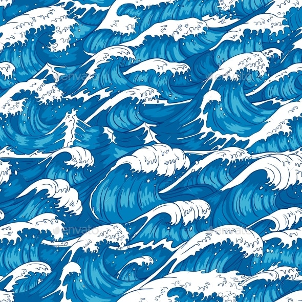 Storm Waves Seamless Pattern - Landscapes Nature