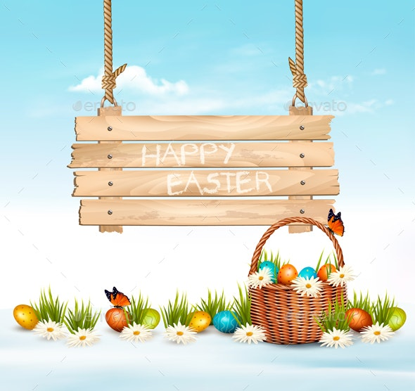 Easter Background with Eggs and Wooden Sign - Miscellaneous Seasons/Holidays