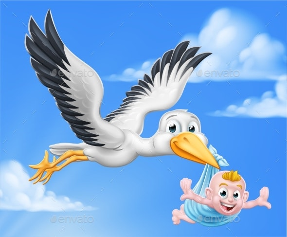 Stork Cartoon Pregnancy Myth Bird With Baby Boy - Animals Characters