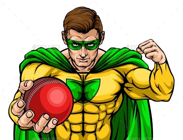 Superhero Holding Cricket Ball Sports Mascot - Miscellaneous Characters