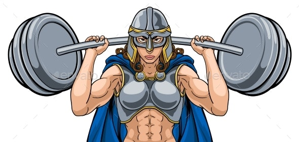 Warrior Woman Weightlifter Lifting Barbell - People Characters