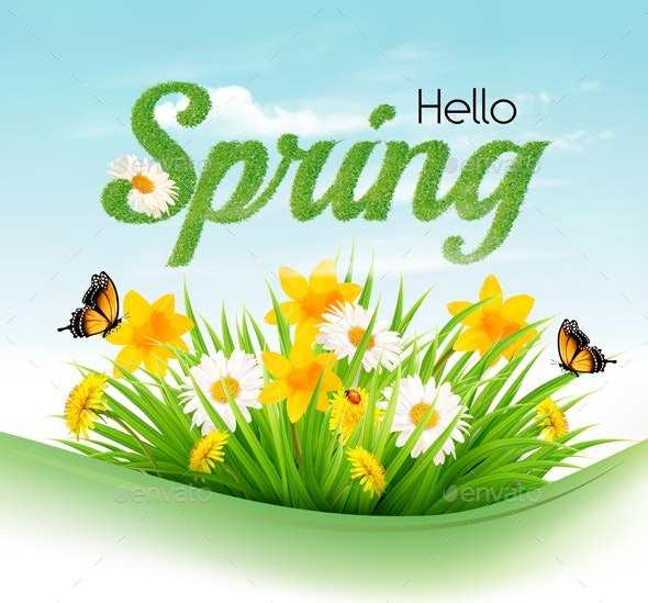 Nature Spring Background with Green Grass Flowers and Butterflies - Seasons Nature