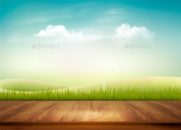 Nature Background with Wooden Deck and Blue Sky - Landscapes Nature