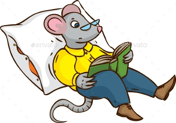 Mouse with Glasses and Book - Animals Characters