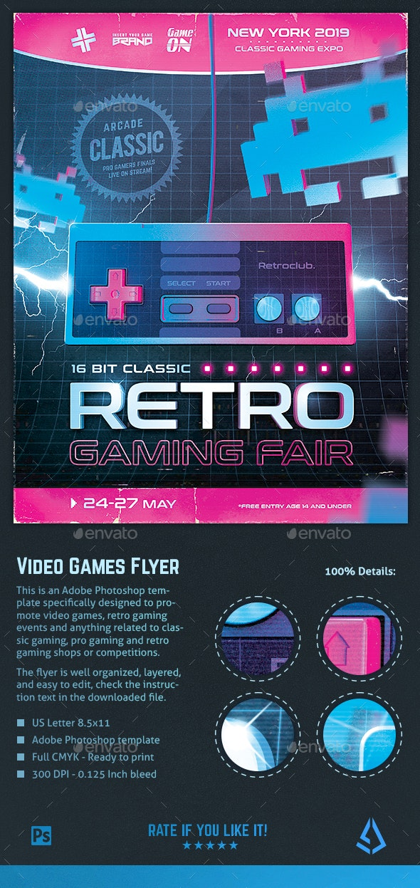 Video Games Flyer 1980s Retro Gaming Poster
