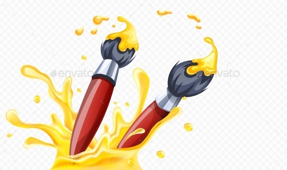 Art Brushes with Yellow Paint - Man-made Objects Objects
