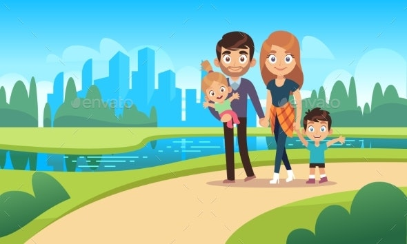 Happy Family Walks - People Characters