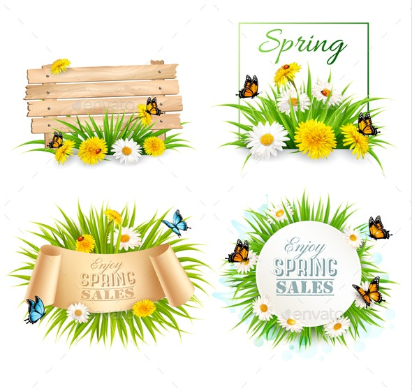 Set of Spring Sale Banners with Flowers and Cards - Flowers & Plants Nature