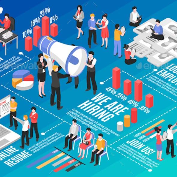 Isometric Recruitment Flowchart Infographics