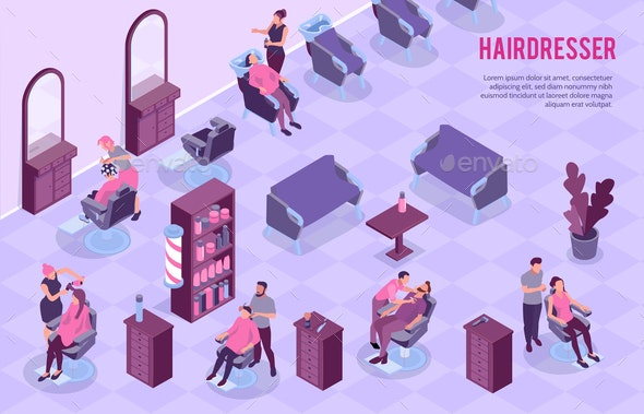Barbershop Isometric Illustration - Services Commercial / Shopping