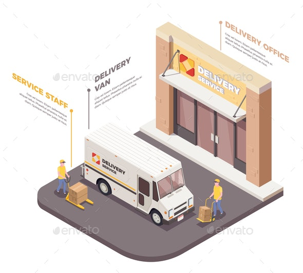 Logistics Company Isometric Composition - Industries Business