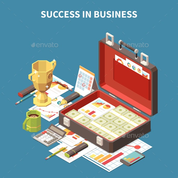Business Strategy Isometric Composition - Concepts Business
