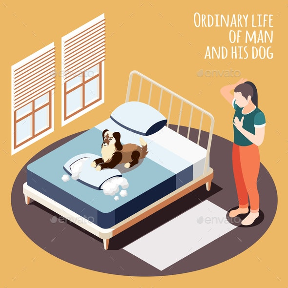 Isometric Ordinary Life Background - Animals Characters