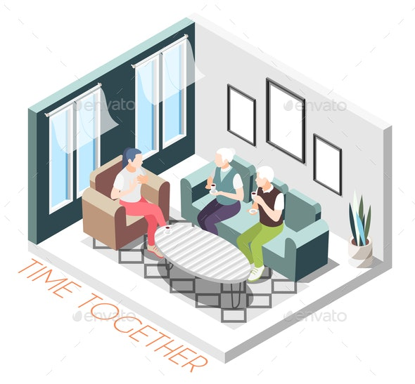 Isometric Time Together Composition - People Characters
