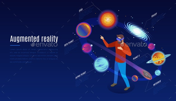 Astrophysics Isometric Augmented Reality Composition - Miscellaneous Conceptual