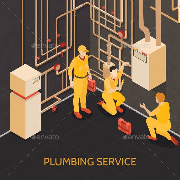 Plumbing Service Team Illustration - Services Commercial / Shopping