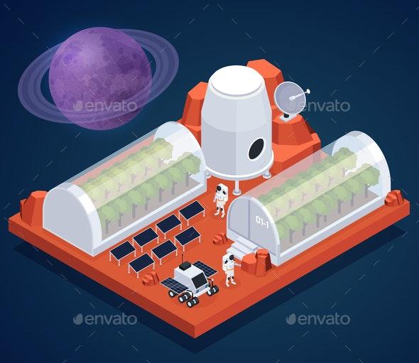 Isometric Space Base Composition - Miscellaneous Vectors