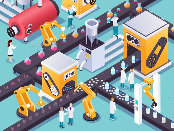 Robotic Conveyors Isometric Composition - People Characters