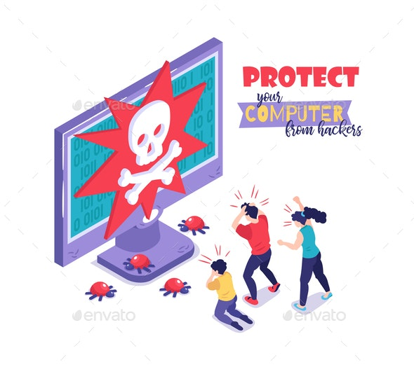 Protect Computer Hackers Concept - Computers Technology