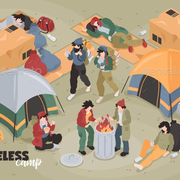 Isometric Homeless Camp Composition