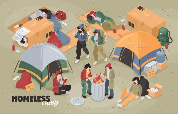 Isometric Homeless Camp Composition - People Characters