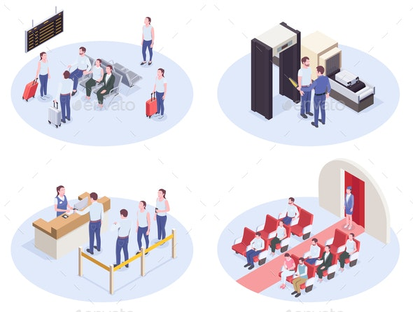Airport Isometric Compositions Set - Travel Conceptual