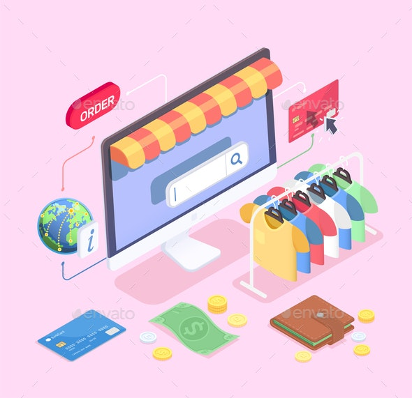 Computer Shopping Isometric Composition - Web Technology