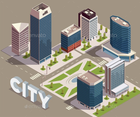 Modern City Block Composition - Buildings Objects