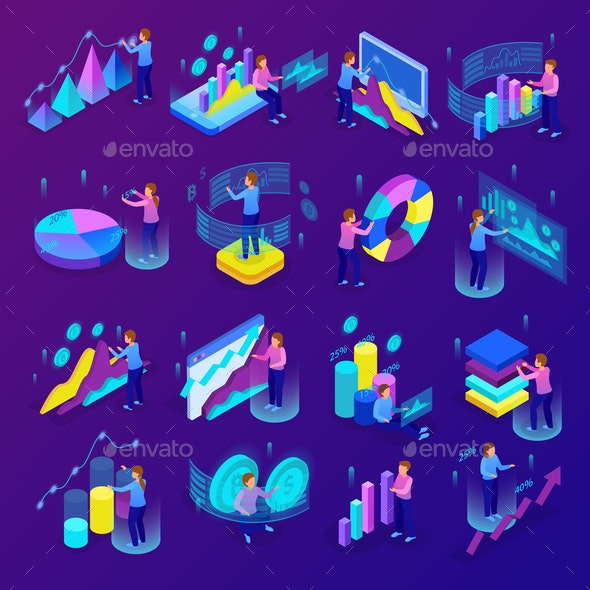 Business Analytics Icons Set - People Characters