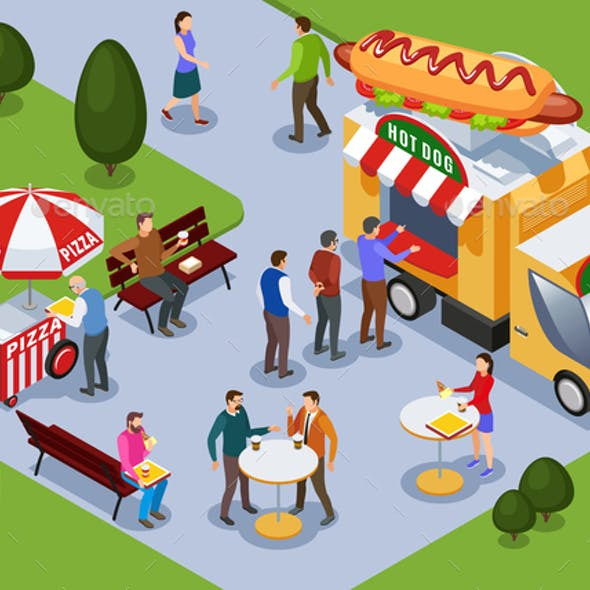 Food Truck Isometric Composition
