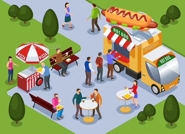 Food Truck Isometric Composition - Food Objects