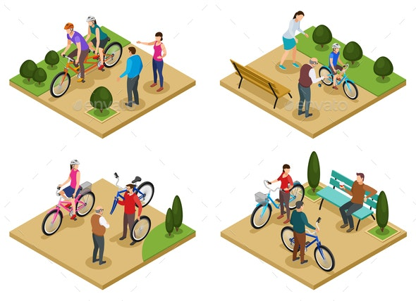 People and Bicycle 2x2 Design Concept - Sports/Activity Conceptual