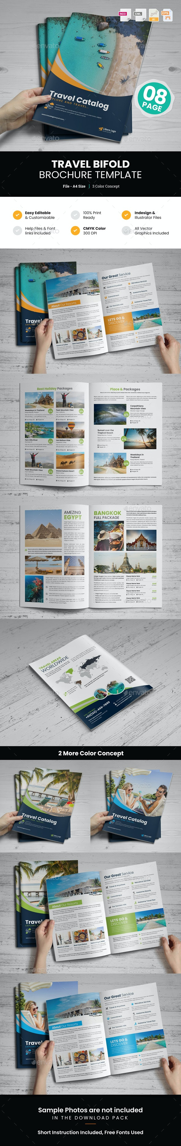 Holiday Travel Bifold Brochure Template v1 - Corporate Brochures
