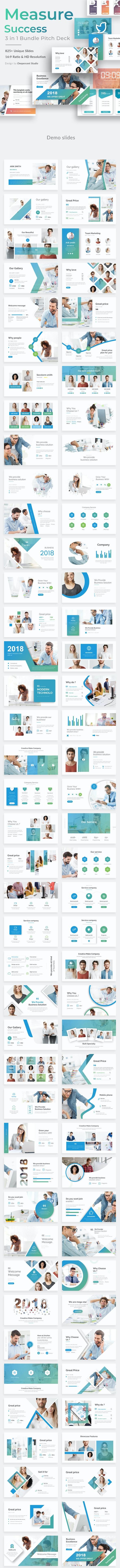 Measure Success 3 in 1 Pitch Deck Bundle Powerpoint Template - Business PowerPoint Templates