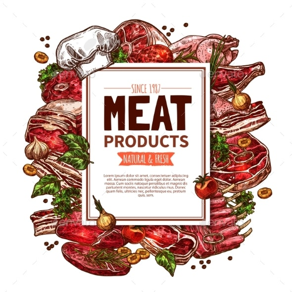 Fresh Meat Product Sketch Poster for Food Design - Food Objects