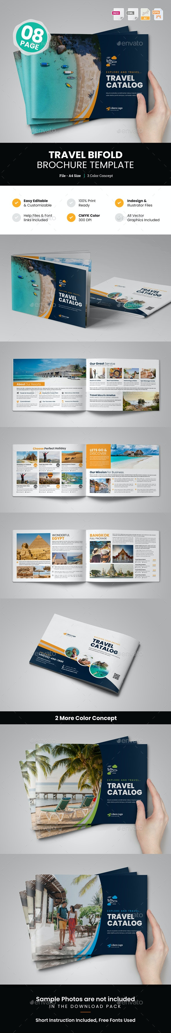 Holiday Travel Bifold Brochure Template v2 - Corporate Brochures