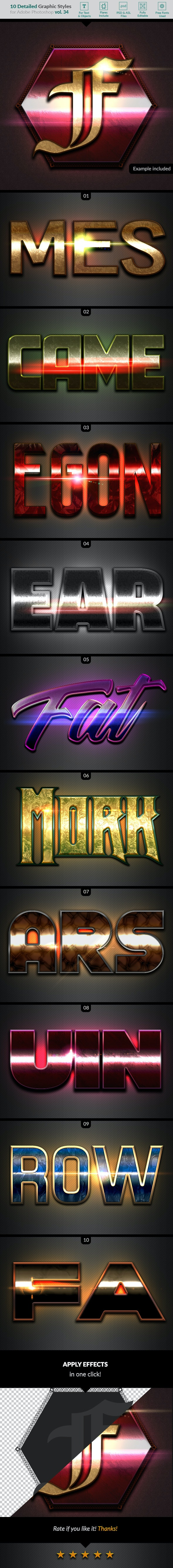 10 Text Effects Vol. 34 - Styles Photoshop