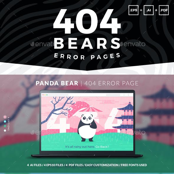404 Bears | Error Pages Set of Vector Illustrations