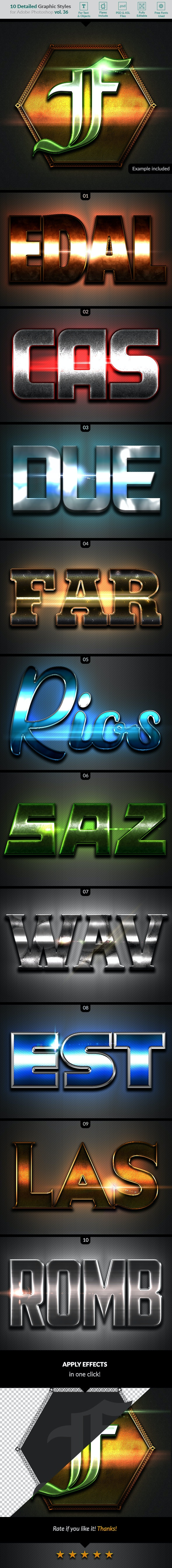 10 Text Effects Vol. 36 - Styles Photoshop