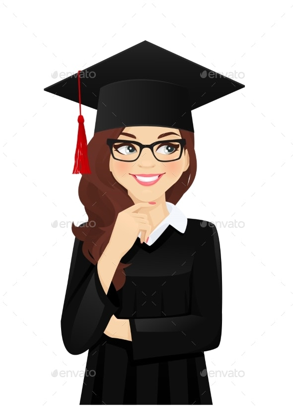 Thinking Student Girl - Miscellaneous Vectors
