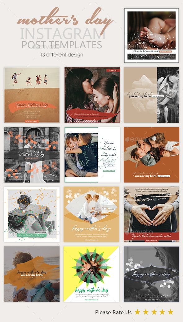 Mother's Day Instagram Post Templates - Social Media Web Elements