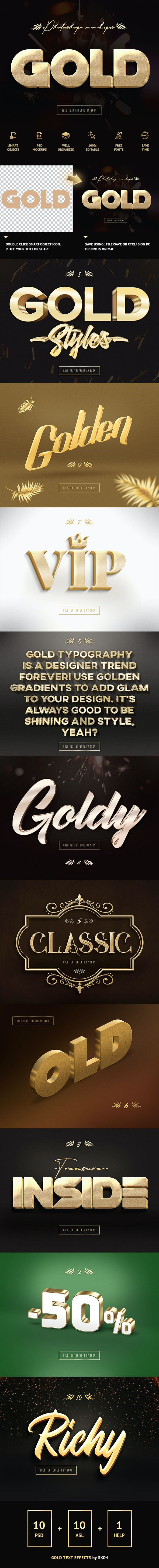 3D Gold Text Effects - Text Effects Actions