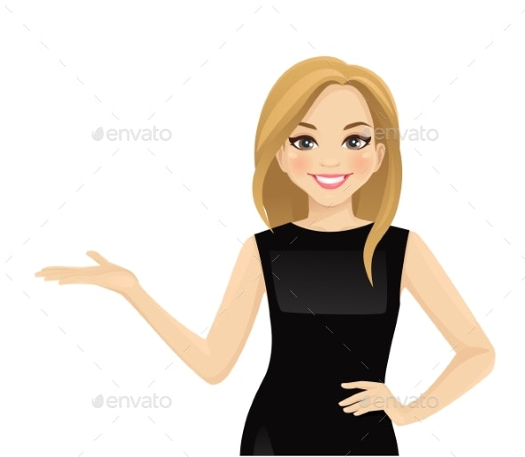 Elegant Business Woman Showing - Concepts Business