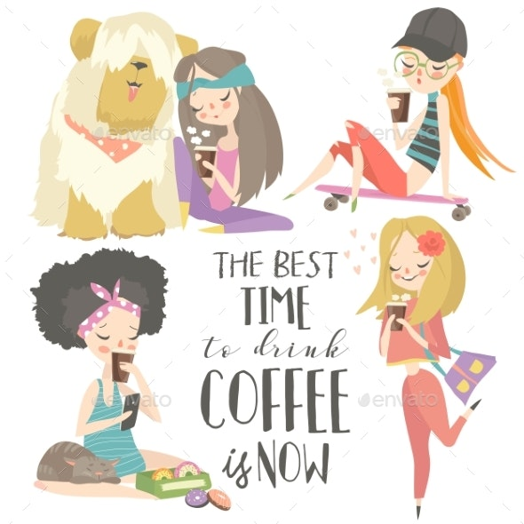 Young Girls Drinking Coffee Set - Food Objects