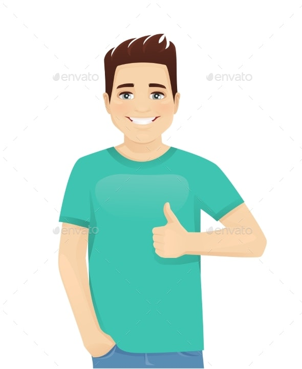 Young Man Gesturing Ok Sign - People Characters