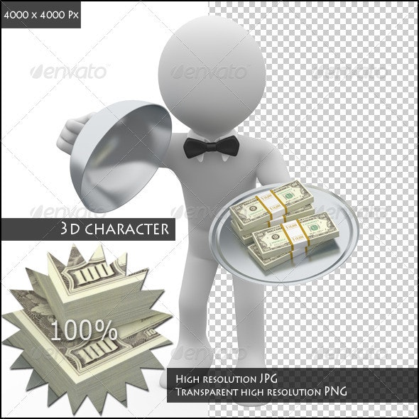 Waiter Serving in Tray Wads of Dollars - 3D Renders Graphics