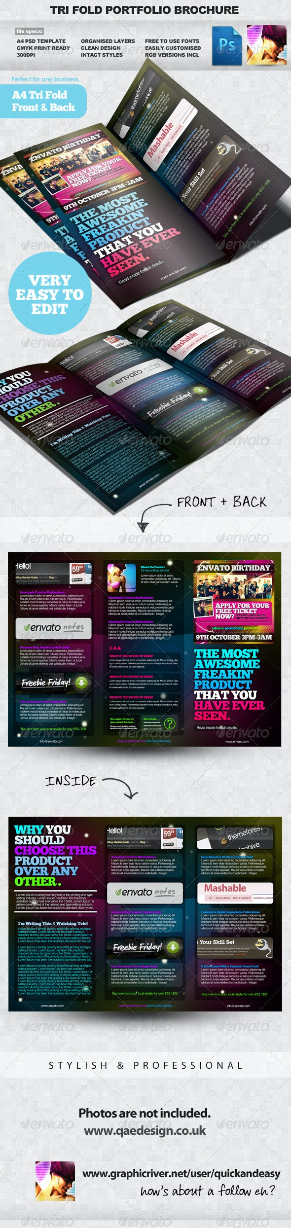 Product / Portfolio A4 Three Fold Brochure Layout - Corporate Brochures